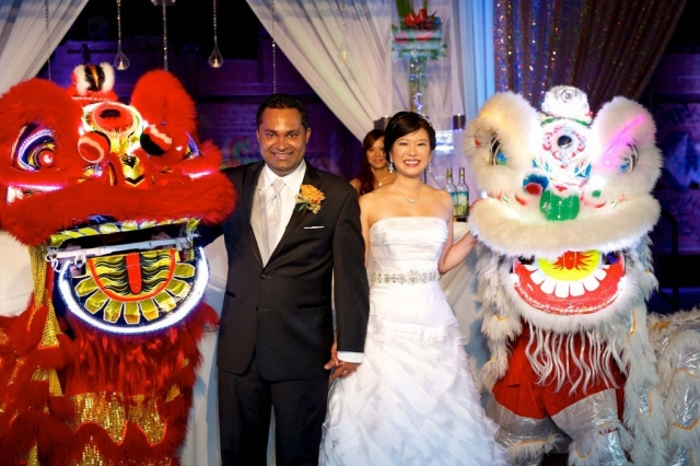asian wedding with dragons