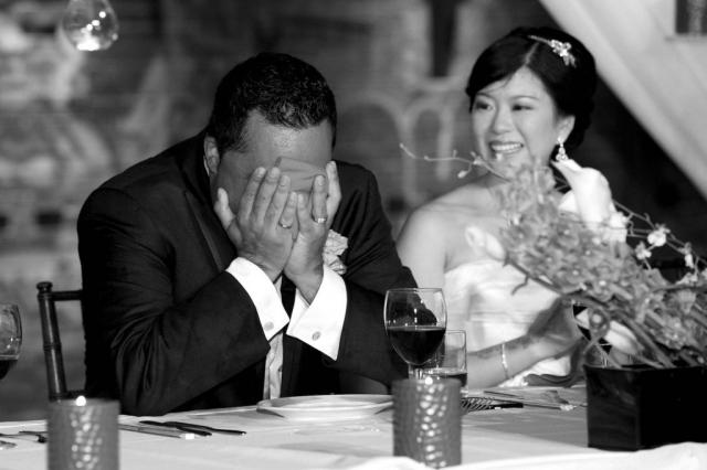Groom crying by a toronto wedding photographer